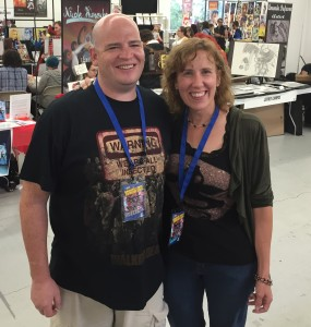 Author Stacey Longo with fan Jason Rivers.