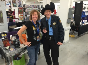 Stacey with cosplayer R.W. Martin.