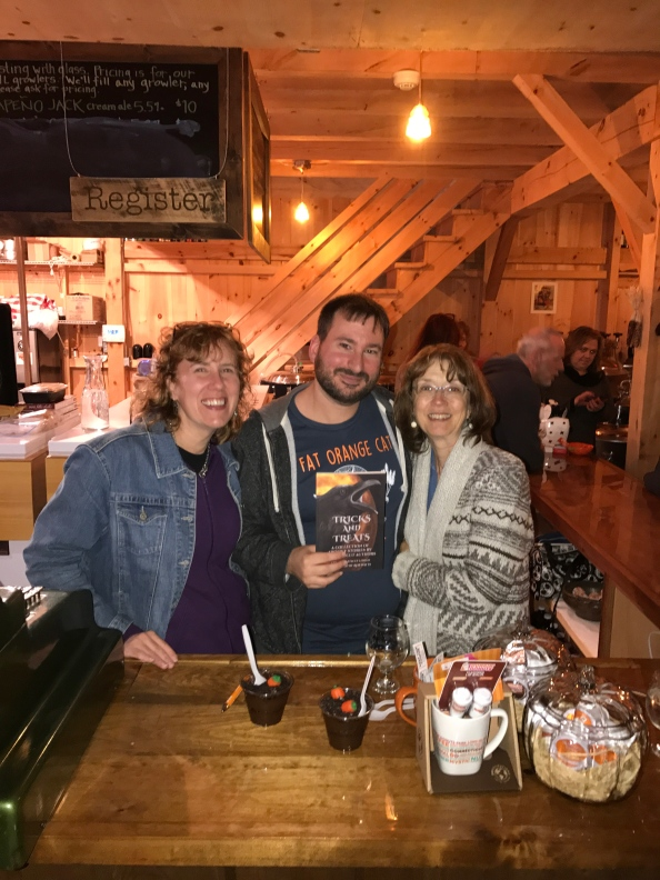 Authors Stacey Longo, John Valeri, and Melissa Crandall at the Fat Orange Cat Brew Co.
